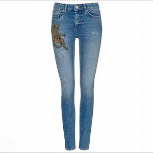 Zoe Karssen Leopard Patch Skinny Jeans
